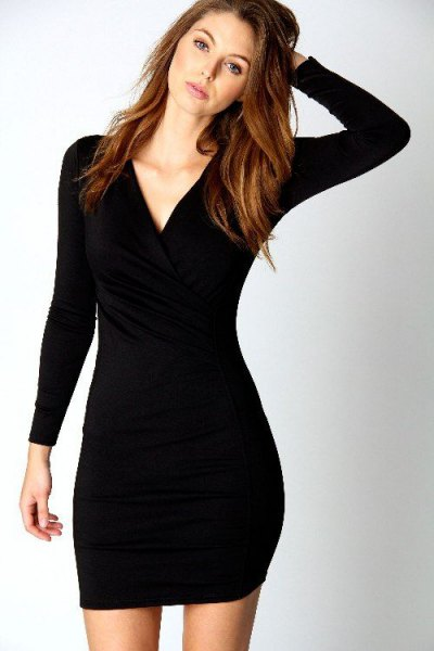 black, long-sleeved, figure-hugging mini dress with V-neck