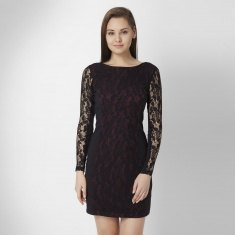 black long-sleeved lace mini dress with zip at the back