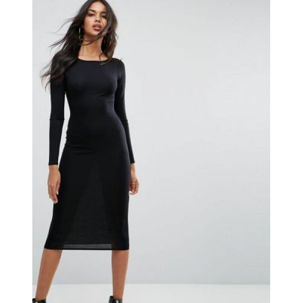 black long-sleeved midi cotton dress with leather ankle boots
