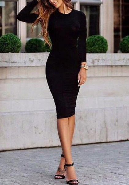 black long-sleeved midi dress with open toe heels with ankle straps