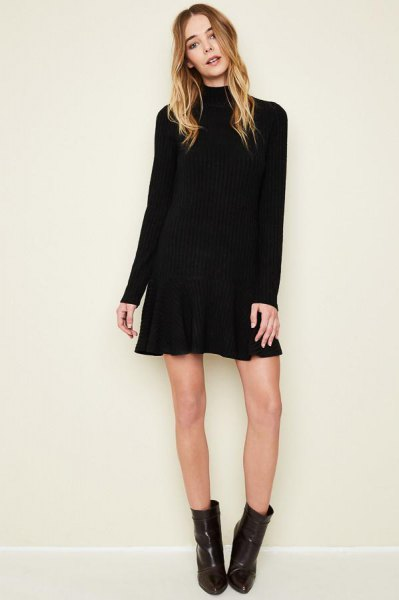 black long sleeved mini flare dress ankle boots