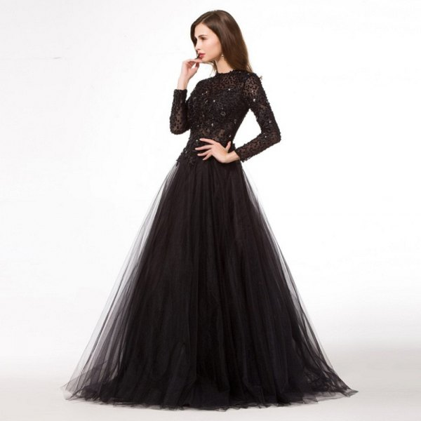 black long-sleeved sequin and chiffon dress