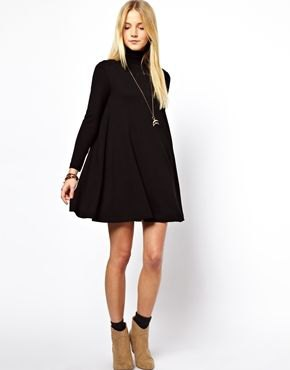black long sleeve turtleneck swing dress camel boots