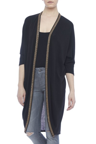 black longline cardigan with t-shirt with scoop neckline and gray jeans