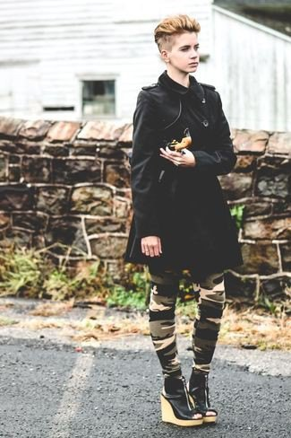 black longline coat with camouflage tights and wedge heel