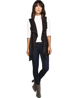 black longline denim vest with imitation sweater