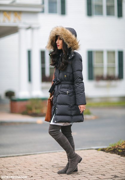 black long-linen fur jacket with hood and white tunic dress