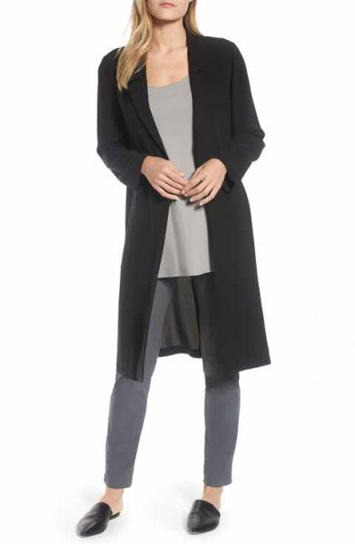black longline silk jacket with gray skinny jeans