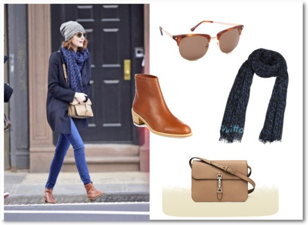 black longline cardigan with blue scarf and light brown handbag made of soft leather