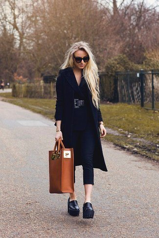 black longline wool coat with leather slippers