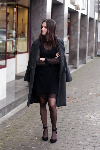 black longline wool coat with mini shift dress
