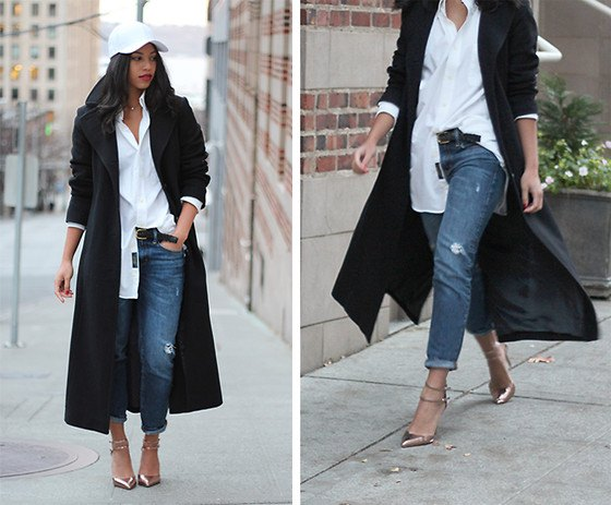 black wool coat with white boyfriend shirt and straight leg jeans