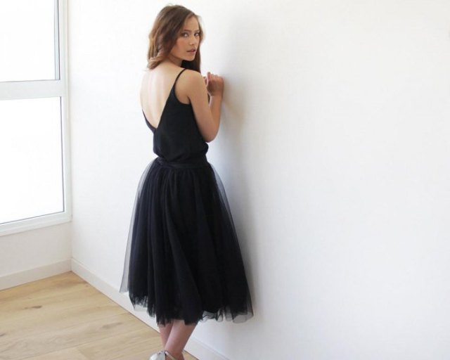 black midi tulle dress with low back