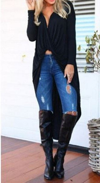 black maxi cardigan sweater with low-cut crop top and overknee boots