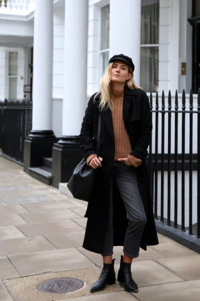 black maxi coat with ribbed sweater with camel mock neck