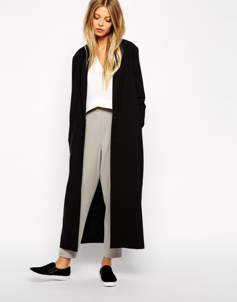 black maxi jacket white blouse gray pants