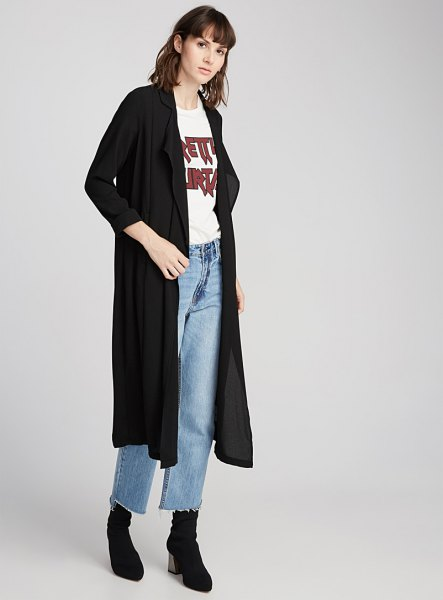 black maxi jacket white print t-shirt