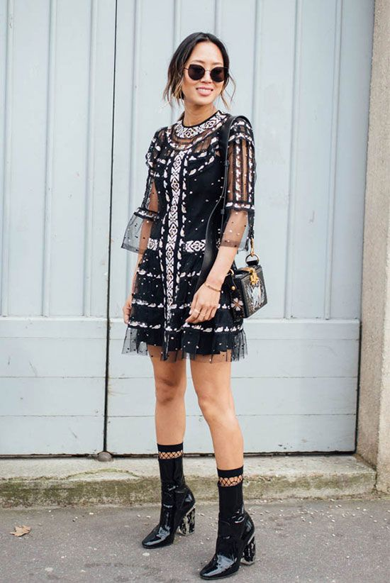 black mesh dress with sequins