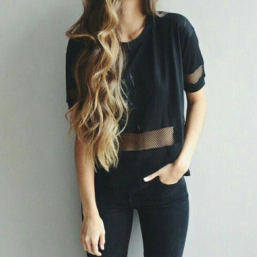 black mesh t-shirt with skinny jeans