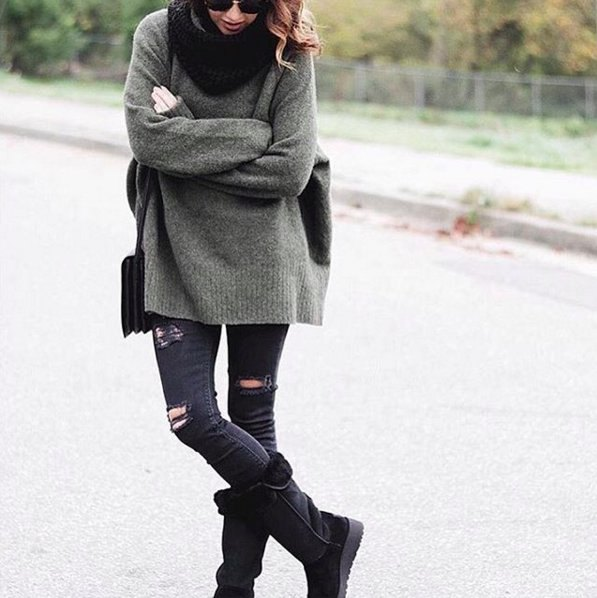 black calf fold over boots, gray, coarsely knitted sweater
