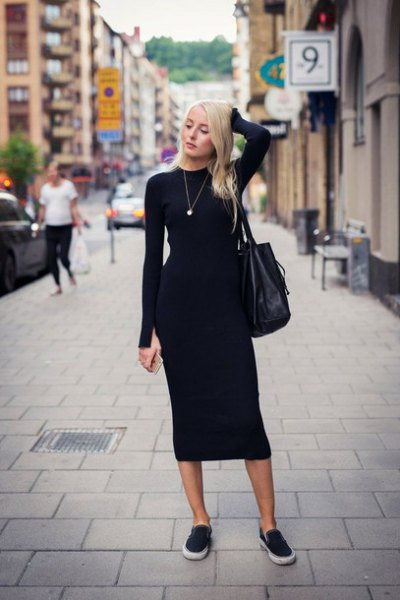 black, figure-hugging midi dress with canvas sneakers and leather handbag