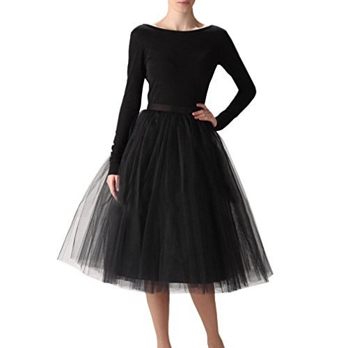 black midi tulle skirt with figure-hugging long-sleeved top