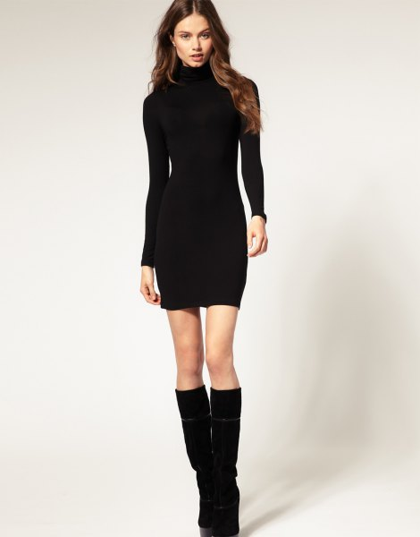black mini bodycon dress knee high boots