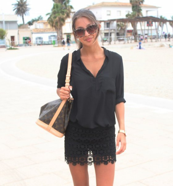 black mini lace skirt shirt with buttons