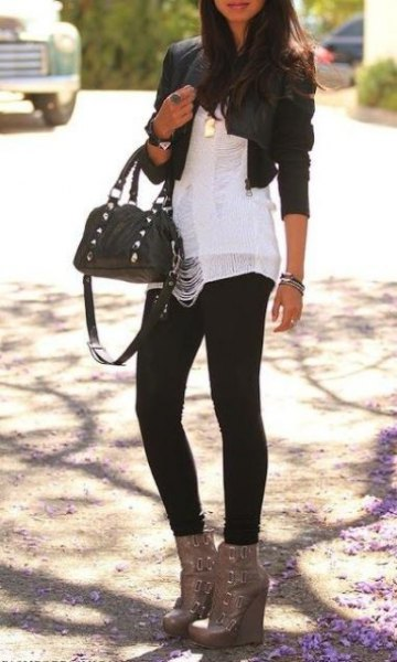 black mini leather jacket with white chiffon blouse and gray ankle boots