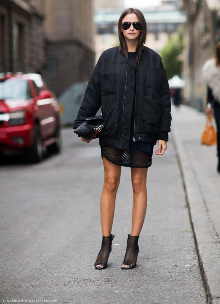 black mini sheath dress with casual, oversized jacket