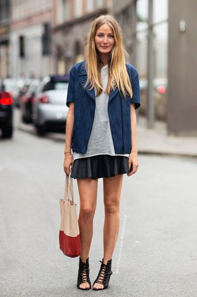 black mini skirt blue short-sleeved wool jacket