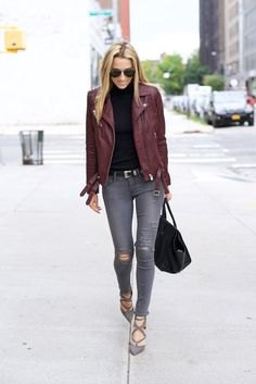 black mock neck sweater with gray, torn super skinny jeans