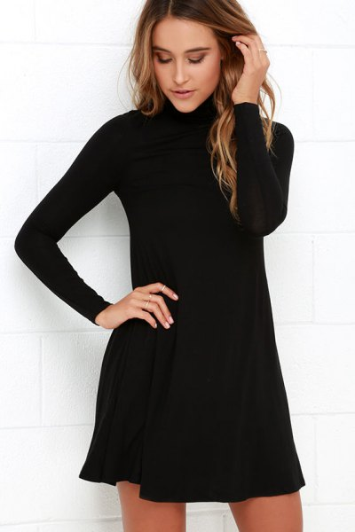 black swing dress with stand-up collar