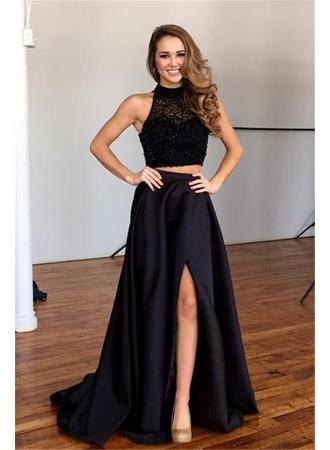 black two-piece maxi dress with mock neck