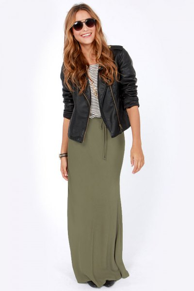 black moto leather jacket with olive green maxi skirt