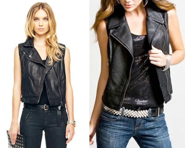 black motorcycle leather vest with tank top with scoop neckline and slim-fitting jeans
