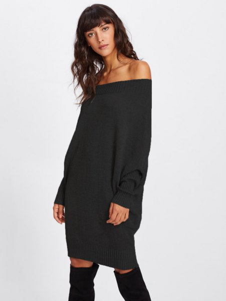 black off the shoulder, chunky sweater dress