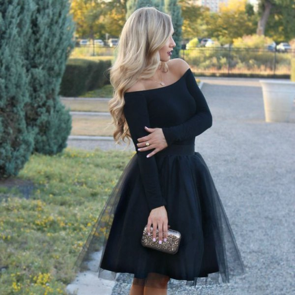 black strapless tulle dress silver purse