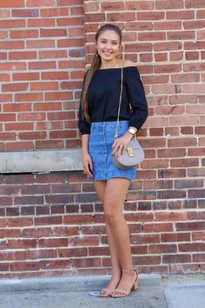 black strapless blouse with blue mini skirt
