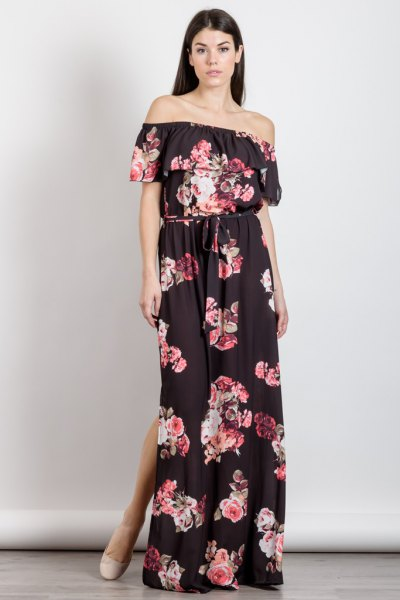 Black strapless, flowered maxi dress with double slit