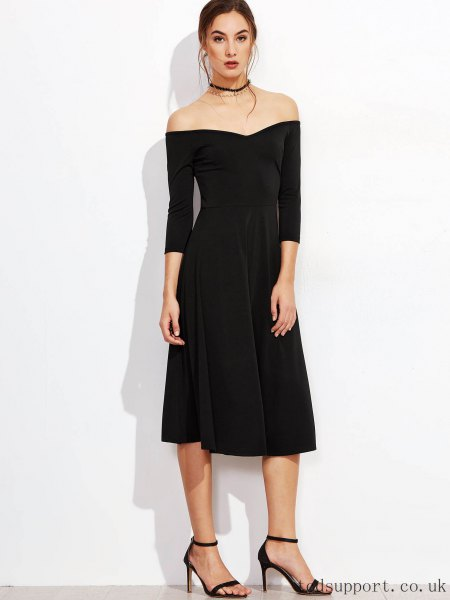 Black strapless midi zip dress with a collar