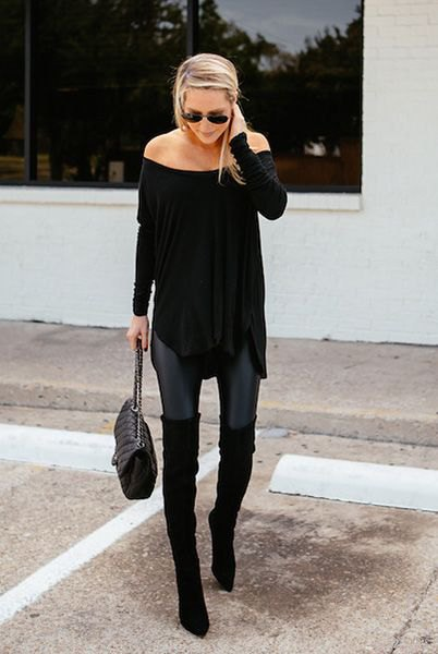 black strapless tunic blouse with skinny jeans and long flat boots