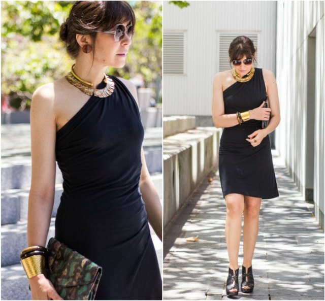 black strapless dress with leather ankle boots