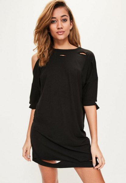 black off shoulder t-shirt dress with half sleeves