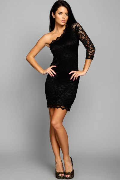 black, strapless, figure-hugging dress with lace sleeves and shoulders