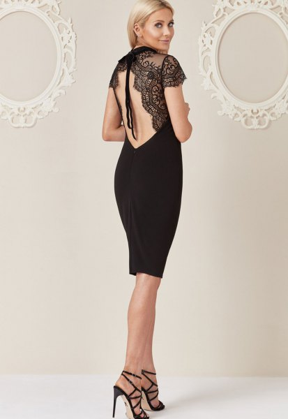black lace dress with an open back