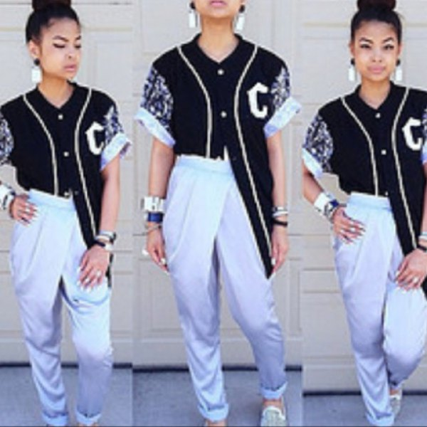 black oversized baseball jersey shirt with white pants with high cuffs