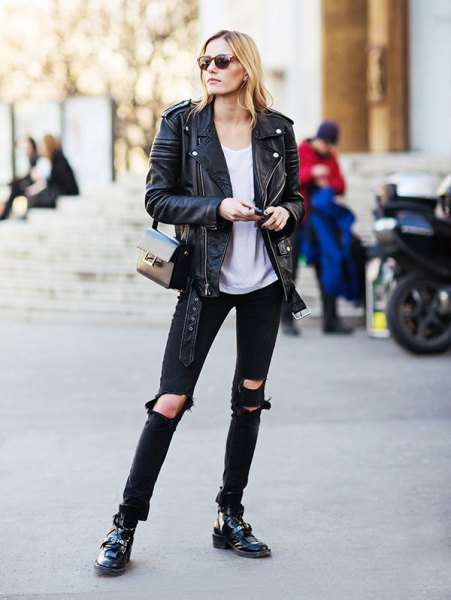 black oversized jacket with gray top with relaxed fit