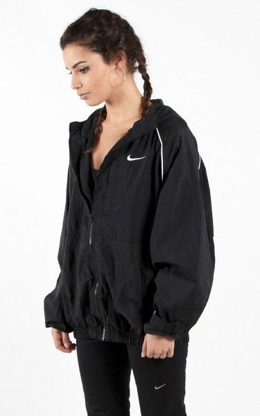 black oversized jacket with slim fit running trousers