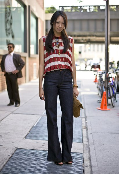 black pants red and white horizontally striped sleeveless top